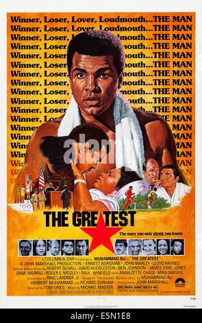 THE GREATEST, US poster art, center: Muhammad Ali, bottom from left: Ernest Borgnine, Annazette Chase, James Earl - Stock Photo
