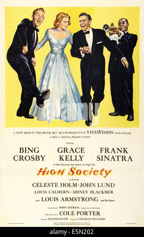 HIGH SOCIETY, from left: Bing Crosby, Grace Kelly, Frank Sinatra, Louis Armstrong, 1956. - Stock Photo