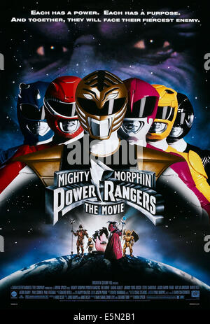 MIGHTY MORPHIN POWER RANGERS: THE MOVIE, US poster art, top left to right: David Yost, Steve Cardenas, Jason David - Stock Photo