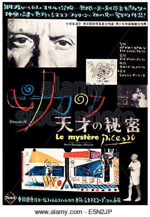 THE MYSTERY OF PICASSO (aka LE MYSTERE PICASSO), top left and bottom right: Pablo Picasso on Japanese poster art, - Stock Photo
