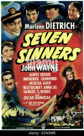SEVEN SINNERS, clockwise from bottom left: Billy Gilbert, Mischa Auer, John Wayne, Oscar Homolka, Broderick Crawford, - Stock Photo