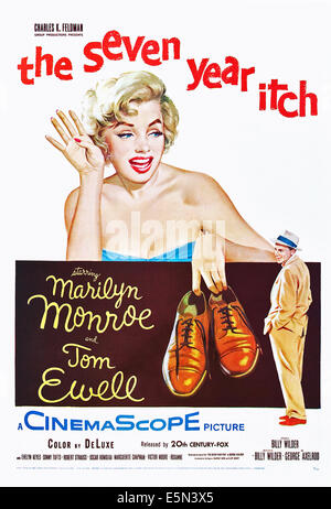 THE SEVEN YEAR ITCH, Marilyn Monroe, Tom Ewell, 1955, TM and Copyright ©20th Century Fox Film Corp. All rights - Stock Photo