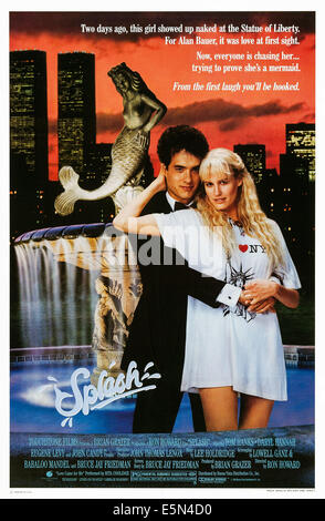 SPLASH, US poster, from left: Tom Hanks, Daryl Hannah, 1984. © Buena Vista Pictures/courtesy Everett Collection - Stock Photo