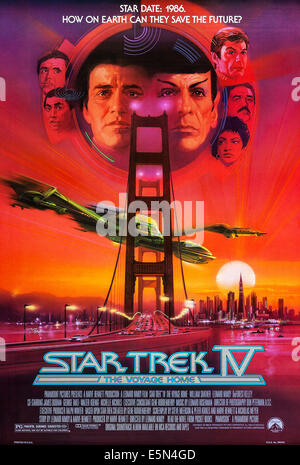 STAR TREK IV: THE VOYAGE HOME, US poster, left from top: Walter Koenig, George Takei, center from left: William - Stock Photo