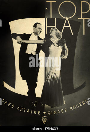 top hat with ginger rogers fred astaire movie poster directed stock photo royalty free. Black Bedroom Furniture Sets. Home Design Ideas