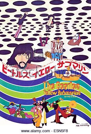 YELLOW SUBMARINE: The Beatles, Japanese poster, top from left: John Lennon, George Harrison, Ringo Starr, Paul McCartney, - Stock Photo