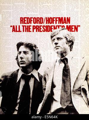 ALL THE PRESIDENT'S MEN, Dustin Hoffman, Robert Redford, 1976. - Stock Photo