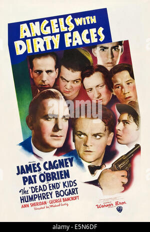 ANGELS WITH DIRTY FACES, Humphrey Bogart, Pat O'Brien, James Cagney, 1938, poster art - Stock Photo