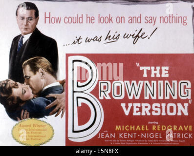 THE BROWNING VERSION, Michael Redgrave, 1951. - Stock Photo