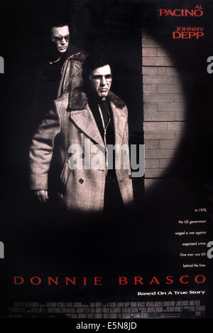 DONNIE BRASCO, Johnny Depp (rear), Al Pacino, 1997, © TriStar/courtesy Everett Collection - Stock Photo