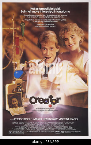 CREATOR, U.S. poster art, from left: Peter O'Toole, Mariel Hemingway, 1985. ©20th Century Fox Film Corporation, - Stock Photo