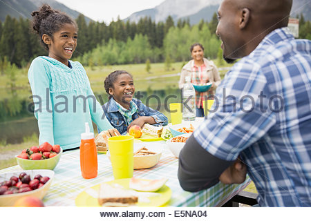Family eating at picnic table - Stock Photo