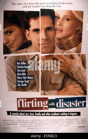 FLIRTING WITH DISASTER, from left: Tea Leoni, Ben Stiller, Patricia Arquette, 1996, © Miramax/courtesy Everett Collection - Stock Photo