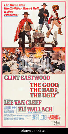 THE GOOD, THE BAD AND THE UGLY, Clint Eastwood, Lee Van Cleef, Eli Wallach, 1966 Poster Art - Stock Photo