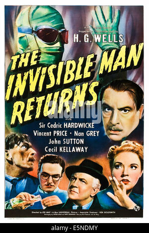 THE INVISIBLE MAN RETURNS, (clockwise) Vincent Price,  Cedric Hardwicke, Nan Grey, Cecil Kellaway, John Sutton, - Stock Photo