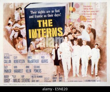 THE INTERNS, front from left: Michael Callan, James MacArthur, Nick Adams, Cliff Robertson, 1962 - Stock Photo
