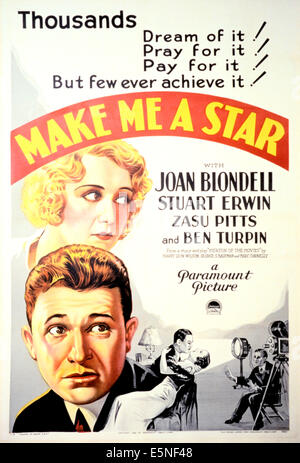 MAKE ME A STAR, from top: Joan Blondell, Stuart Erwin on poster art, 1932. - Stock Photo