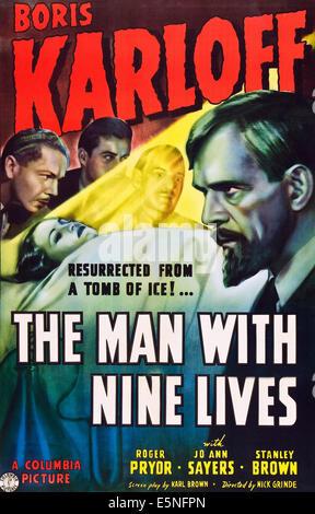THE MAN WITH NINE LIVES, Boris Karloff, 1940 - Stock Photo