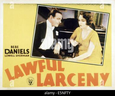 LAWFUL LARCENY, from left: Lowell Sherman, Bebe Daniels, 1930 - Stock Photo