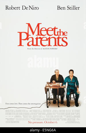 MEET THE PARENTS, US advance poster art, from left: Robert De Niro, Ben Stiller, 2000. © Universal Pictures/ Courtesy: - Stock Photo