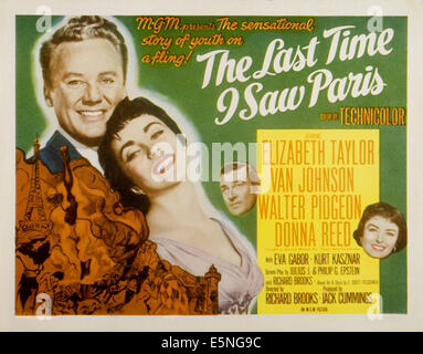 LAST TIME I SAW PARIS, Van Johnson, Elizabeth Taylor, Walter Pidgeon, Donna Reed, 1954 - Stock Photo