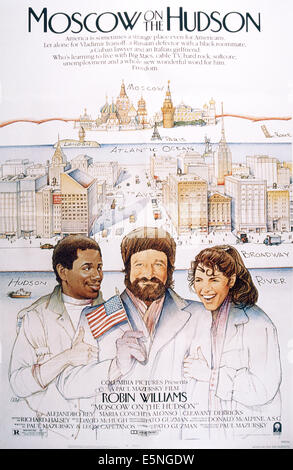 MOSCOW ON THE HUDSON, from left: Cleavant Derricks, Robin Williams, Maria Conchita Alonso, 1984, © Columbia/courtesy - Stock Photo