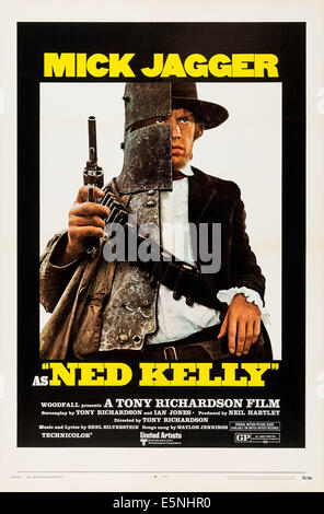 NED KELLY, US poster, Mick Jagger, 1970 - Stock Photo