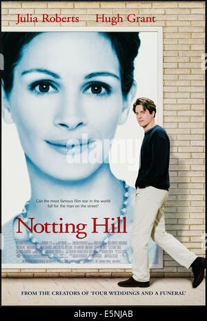 NOTTING HILL, US poster, from left: Julia Roberts, Hugh Grant, 1999, © Universal/courtesy Everett Collection - Stock Photo