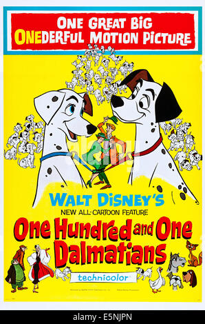 ONE HUNDRED AND ONE DALMATIANS, (aka 101 DALMATIANS), US poster art, 1961 - Stock Photo
