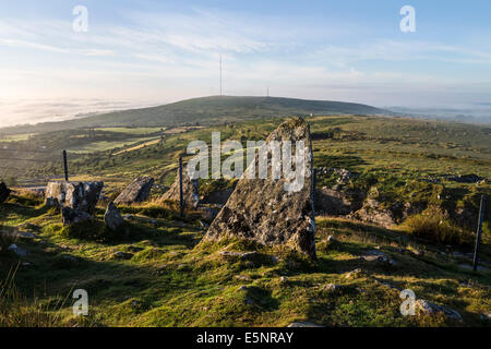 Caradon Hill Viewed From Stowe's Hill as Early Morning Mist Clears Bodmin Moor Cornwall UK - Stock Photo