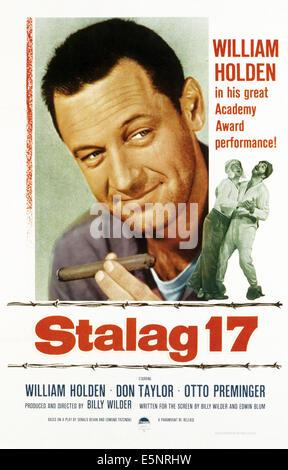 STALAG 17, (poster art), William Holden, 1953 - Stock Photo