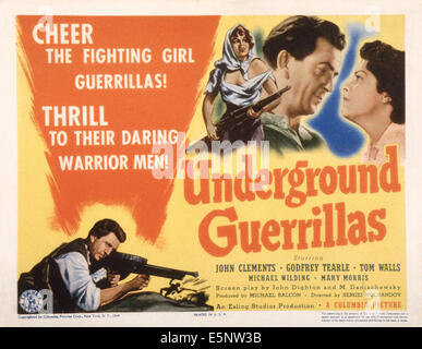 UNDERCOVER, (aka UNDERGROUND GUERRILLAS), US lobbycard, top right: John Clements, Mary Morris, 1943 - Stock Photo