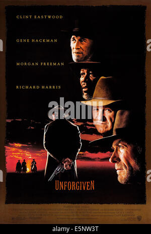 UNFORGIVEN, US poster art, Richard Harris, Morgan Freeman, Gene Hackman, Clint Eastwood, 1992 - Stock Photo