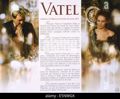 VATEL, French lobbycard, from left: Gerard Depardieu, Uma Thurman, 2000. ©Miramax/courtesy Everett Collection - Stock Photo