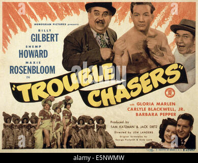 TROUBLE CHASERS, US lobbycard, top, from left: Billy Gilbert, Max Rosenbloom, Shemp Howard; bottom, second right: - Stock Photo