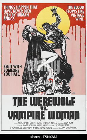 THE WEREWOLF VS. VAMPIRE WOMAN, (aka THE WEREWOLF VERSUS THE VAMPIRE WOMAN),US poster, from left: Patty Shepard, - Stock Photo