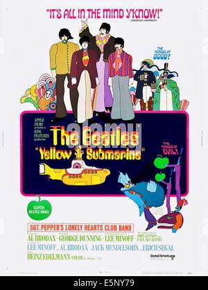 YELLOW SUBMARINE, US poster, top from left: The Beatles: George Harrison, Paul McCartney, John Lennon, Ringo Starr, - Stock Photo