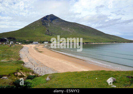 Silver Strand (Pollawaddy strand) Dugort, Achill Island, County Mayo, Ireland with Slievemore mountain overlooking - Stock Photo