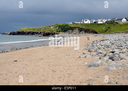 Silver Strand (Pollawaddy strand) Dugort, Achill Island, County Mayo, Ireland looking towards the village from below - Stock Photo