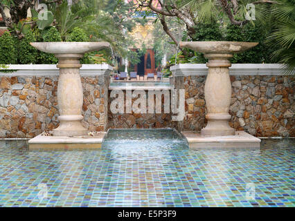 Fountain In Blue Tiled Pool At Jardin Majorelle Marrakesh Morocco Stock Photo Royalty Free