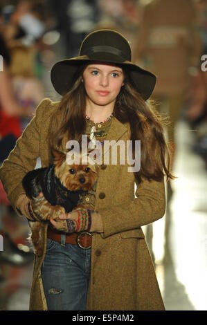 NEW YORK, NY - MAY 19: A model walks the runway at the Ralph Lauren Fall 14 Children's Fashion Show in Support of - Stock Photo