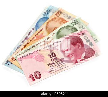 Turkish lira banknotes isolated - Stock Photo