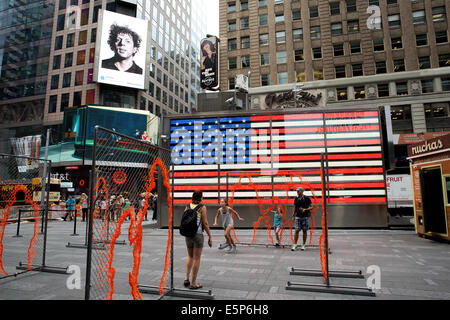 New York, US. 4th Aug, 2014. Digital billboards across New York's Times Square display 58 classic and contemporary - Stock Photo