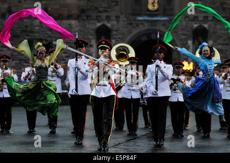 Edinburgh, Scotland, UK. 2nd August 2014. The Royal Edinburgh Military Tattoo takes place on the esplanade of the - Stock Photo