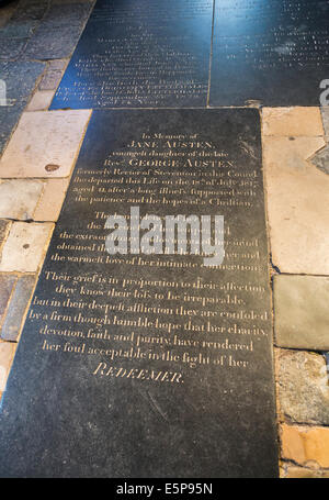 Tombstone of Jane Austen, famous 19th century writer, author of 'Pride and Prejudice', in Winchester Cathedral - Stock Photo