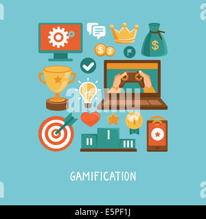 Concept in flat style - new trend in online business - gamification. Design elements and icons with rewards and - Stock Photo