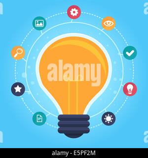 Creative idea infographic - design elements in flat style - graphic design process - Stock Photo