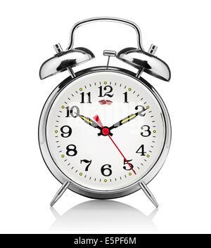 classical alarm clock isolated on white background - Stock Photo