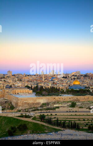 View of Jerusalem from The Mount of Olives, Jerusalem, Israel, Middle East - Stock Photo