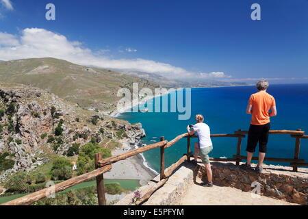 Viewing point of Preveli Beach, Rethymno District, South Crete, Crete, Greek Islands, Greece, Europe - Stock Photo